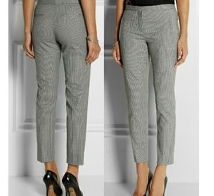 Theory Fia Houndstooth Print Wool Trousers